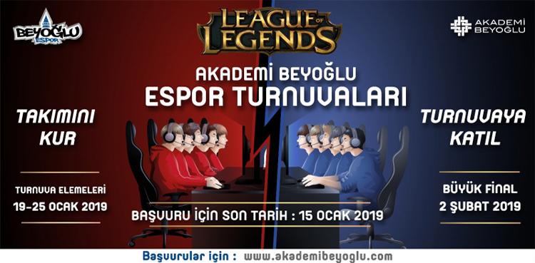 Akademi Beyoğlu League of Legends Turnuvası Başlıyor! Detaylar için...